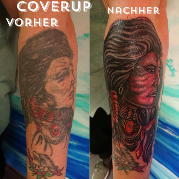 Cover Up Tattoo Indianerkopf by BIG WAVE TATTOO